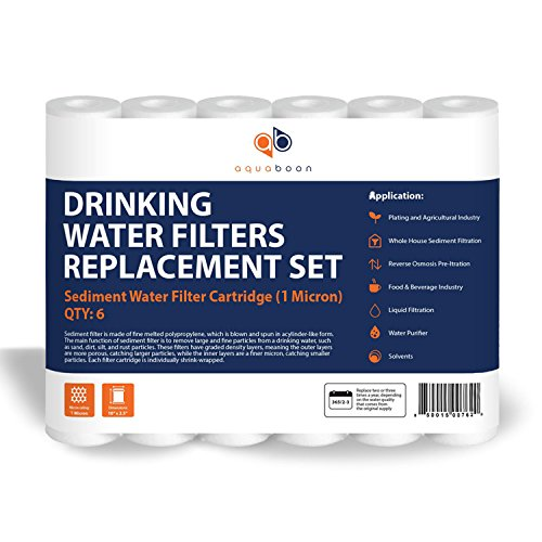 "Aquaboon 6-Pack of 1 Micron 10"" Sediment Water Filter Replacement Cartridge for Any Standard RO Unit 