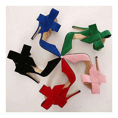 Big Sandals 39 Pointed Women High Bowknot green Super Peep Heel toe SZxq1qpw8