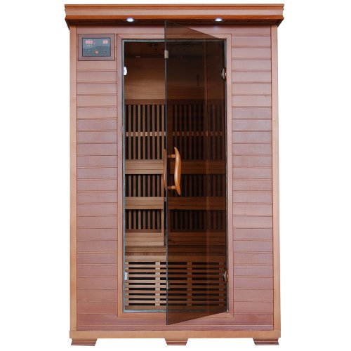 Radiant Saunas 2-Person Infrared Cedar Wood Sauna with Air Purifier, Chromotherapy Lighting, Music System, Carbon Heaters up to 141 Degrees F (Sauna Cedar)