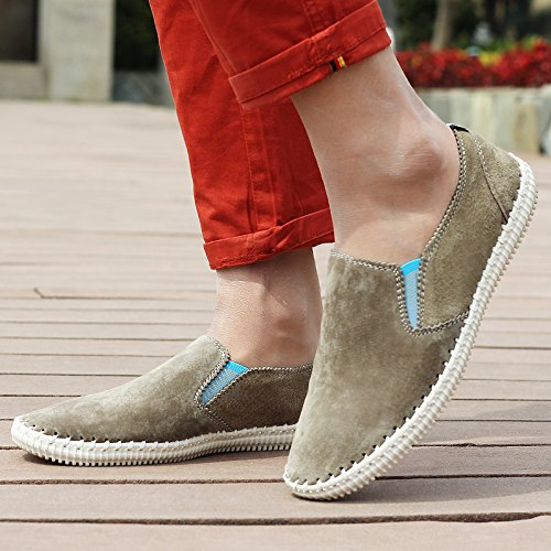 Abby 9988-1 New Mens Casual Leather Loafers Well-being Slip-on Smart Driving Shoes Grey nBqkRmoFg