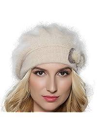 Tomorrow Apariencia Women's Winter Angora Wool Knit Beret Hat with Mink Bowknot