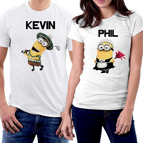 PicOnTshirt Funny Matching Couple Lover Novelty T-shirts Men L / Women S Design 141 (Modells Gift Card compare prices)