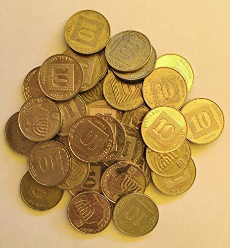 - Lot 50 Israeli Coins, 10 Agorot Israel Collectible Official NIS Money Agora with Menorah