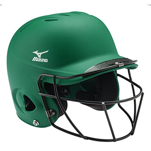 (Mizuno Youth Prospect Batter's Helmet with Fastpitch Facemask, Forest, One Size)