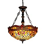 Chloe Lighting CH33471AD18-UH2 Empress Tiffany-Style Dragonfly 2-Light Inverted Ceiling Pendant with Fixture, 18-Inch Shade