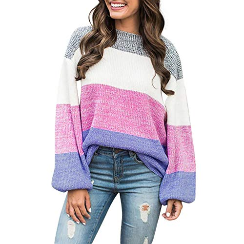 Youngh New Womens Sweatshirt Knitted Patchwork Color Block Loose Long Sleeve Casual Fashion Pullover Tops Sweater by Youngh Sweatshirt