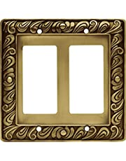 Franklin Brass 64038 Paisley Double Decorator Wall Plate/Switch Plate/Cover, Tumbled Antique Brass