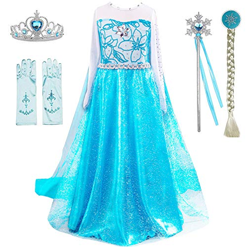 Snow Queen Princess Elsa Costumes Birthday Party Halloween Costume Dress Up for Little Girls with Wig,Crown,Mace,Gloves Accessories 3-12 Years(Blue with Accessories,Age:4-5 Years Height 47