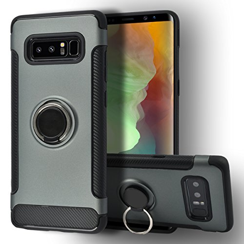 Galaxy Note 8 Case [Jimmy Bumper Series] Ring Holder Kickstand Function [360 Degree Rotating Ring ] Grip Case Ultra Slim Thin Hard, compatible with car mount Samsung galaxy Note 8 Cover (Khaki)