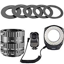 Neewer® 48 Marco LED Ring Light Kit for Canon EOS 1d, 1ds, Mark II, III, IV, 5D,Mark II, 7D, 10D, 20D, 30D, 40D, 50D, Digital Rebel xt, xti, xs, xsi, t1i, t2i, t4i, t5i 300D, 350D, 402D,500D, 550D, 650D, 700D, 1000D,Include(1) Auto Focus Macro Extension Tube Set (13-21-31mm)+(1) 48 Marco LED Ring Light with 6 Adapter Rings for All Macro Canon/Nikon/Sony/Sigma/Tamron Lens