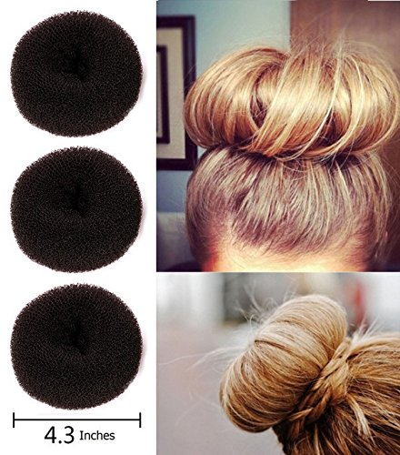 (Fireboomoon 3Pcs Extra-large Size Hair Donut Bun Ring Styler Maker (Brown))
