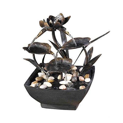 Jeco Cadono Metal Leaves Tabletop Fountain