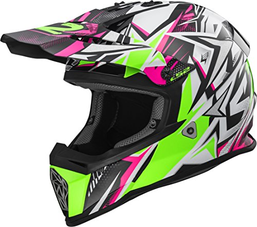 Off Road Motocross Graphic Helmet - LS2 Helmets Fast Mini V2 Youth Strong Green Pink Graphic Unisex-Adult Off-Road-Helmet-Style Off Road MX Helmet (Green, Small)