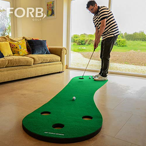 FORB Home Golf Putting Mat (10ft/12ft Long) - Improve Your Putting Stroke in Your Own Home! [Net World Sports] - Green Golf Indoor Putting