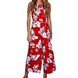 Respctful For Women Casual Clubwear Wide Leg Pants Backless Floral Print Sleeveless Jumpsuit