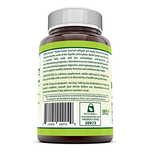 Herbal Secrets 100% Pure Black Cumin Seed Oil - 1000 Mg,100 Softgels - New Improved Formula - Supports Cardiovascular & Digestive Function by Herbal Secrets (Image #2)