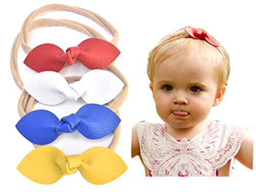 Rabbit Ears Faux Leather Bow - Soft & Stretchy Headband for Baby, Toddler, Girls, Set of 4 (Bright and Bold)