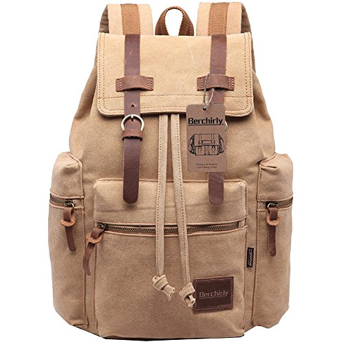 Berchirly Vintage Canvas Travel Laptop Backpack Casual Unisex College School Bag