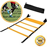 Agility Ladder For Speed Training and Explosive Training - Soccer Training, Football Training - Adjustable 12 Rung 6 Meter Agility Training Equipment BONUS Carry Bag - Agility Ladder Training