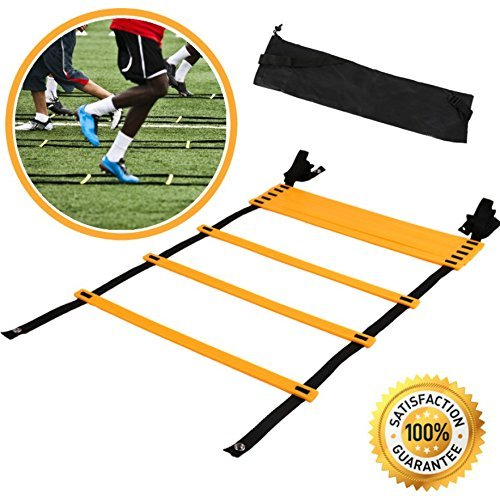 Agility Ladder For Speed Training and Explosive Training - Soccer Training, Football Training - Adjustable 12 Rung 6 Meter Agility Training Equipment BONUS Carry Bag - Agility Ladder Training by Agility Ladder Systems