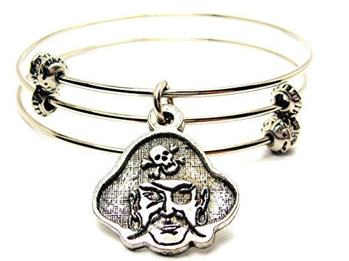 Pirate Sayings Bracelet - ChubbyChicoCharms Pirate Face Mascot Expandable Wire Triple Style Bangle Bracelet, 2.5
