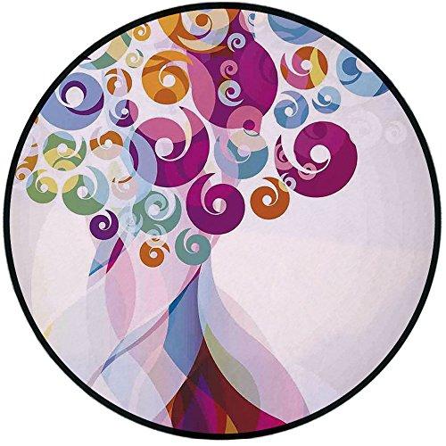 - Printing Round Rug,Modern Art Home Decor,Digital Whirlwind Textured Vortex Concentric Spirals Fantastic Artwork Mat Non-Slip Soft Entrance Mat Door Floor Rug Area Rug For Chair Living Room,Multi
