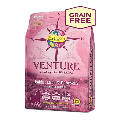 Earthborn Holistic Venture Rabbit Meal And Pumpkin Limited Ingredient Diet Grain Free Dry Dog Food, 25 Lb.