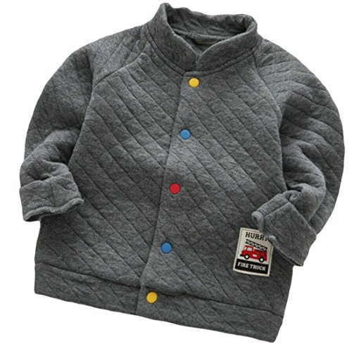 Long amp;W Sleeve Boy's Coat amp;S Gery Warm Winter Cotton M 7FqXZnx