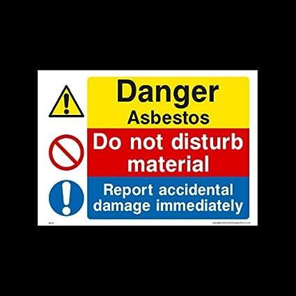 Señal de plástico con texto en inglés «Danger Asbestos» «Do Not ...
