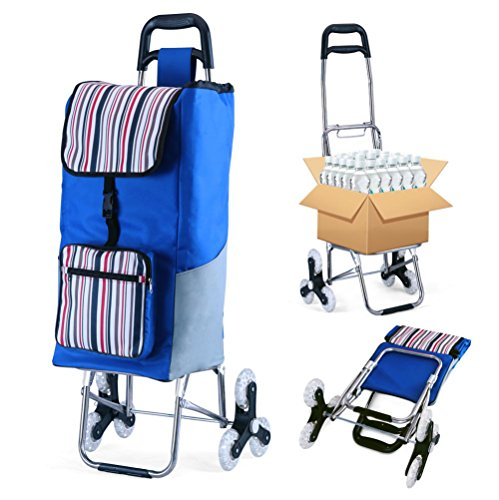 Utility Trolley (Folding Shopping Cart Grocery Utility Cart Stair Climbing Trolley Dolly Larger Storage Stainless Steel Frame)