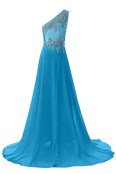 Sunvary elegante un hombro vestidos de a-Line gasa larga noche Prom