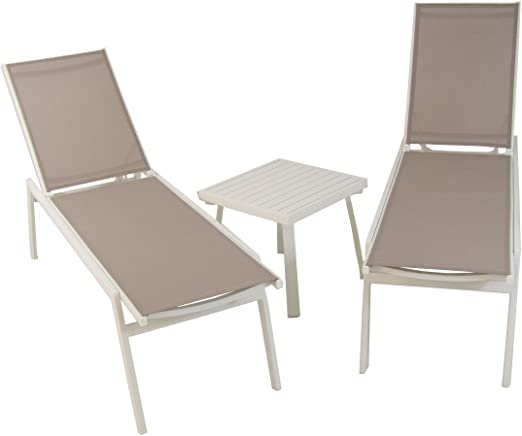 Edenjardi Conjunto de Exterior, 2 tumbonas reclinables + 1 mesita Auxiliar, Aluminio Reforzado Blanco y textilene 2x2 taupé: Amazon.es: Jardín