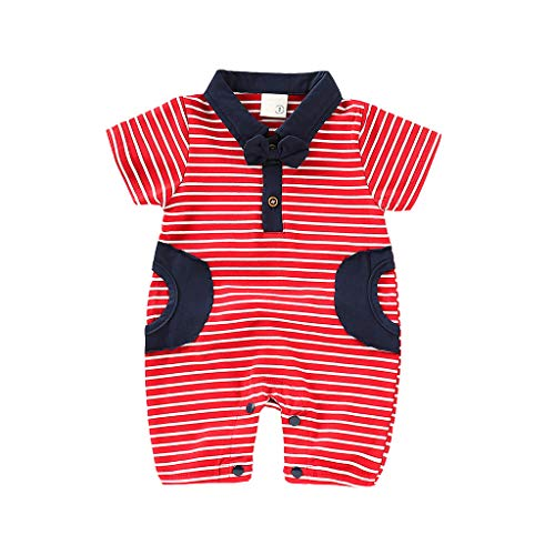 UCQueen Bodysuit Summer Clothes Infant Baby Boys Short Sleeve Gentleman Romper Necktie Tie Striped Print Jumpsuit Red