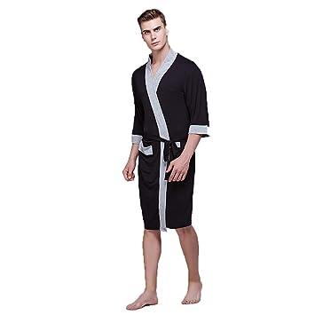 Albornoz Batas de baño para Hombres Bata de baño Toallas Largo Sexy Casuales Bolsillos Casuales y Cinturones SPA Sauna (Tamaño : XXL, ...