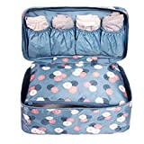 Portable Multifunction Waterproof Travel Pouch Toiletry Bag Case Wash Organizer Packing Cubes Travel Case Underwear Storage Boxes Bra Organizer Socks Bag (Blue Daisies Flower)