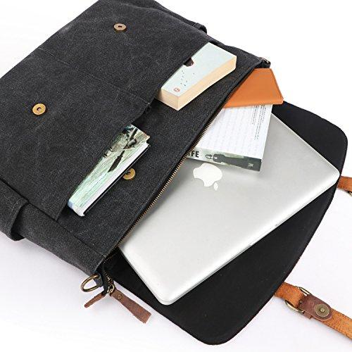 Oflamn hombre Vintage 13 �?15,6 Pulgadas Portátil Bolsa de mensajero lienzo bolso bandolera de piel auténtica maletín
