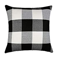 4TH Emotion Black and White Buffalo Checkers Plaids Algodón Lino Throw Pillow Funda de cojín Retro granja decorativa para sofá 18 x 18 pulgadas