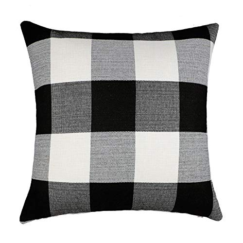 4TH Emotion Black and White Buffalo Checkers Plaids Cotton Linen Throw Pillow Cover Cushion Case Retro Farmhouse Decorative for Sofa 18 x 18 Inch]()