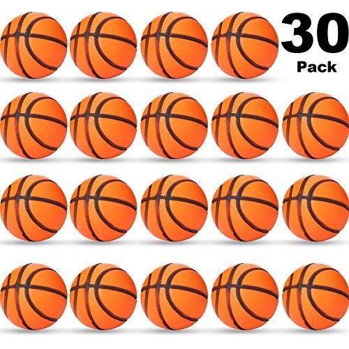 Sports Stress Ball, Mini Foam Sports Ball, Foam Sports Ball for School Carnival Reward, Party Bag Gift Fillers (Basketball, 30 Packs)