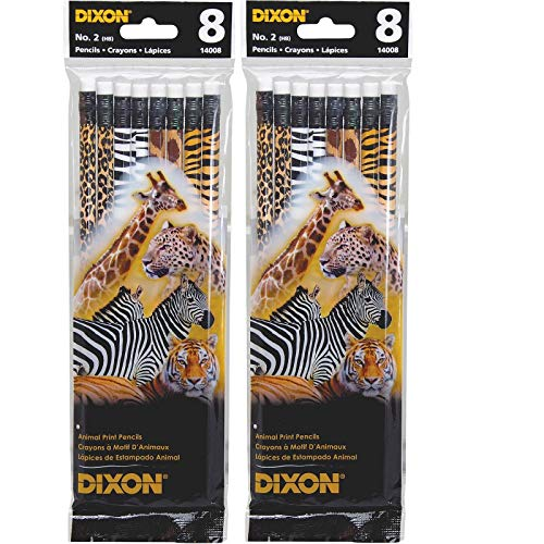 Dixon Ticonderoga Animal Print Pencils, No. 2, 8/PK, Ast 14008 (2) -