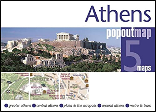 Athens PopOut Map popup city street map of Athens city center