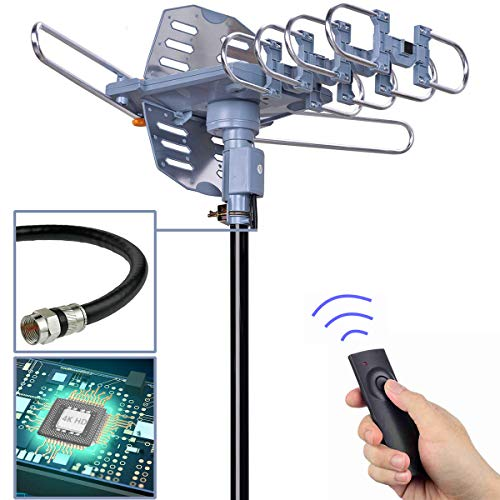 pingbingding Digital Outdoor TV Antenna, 150 Mile Motorized 360 Degree Rotation Support 2 TVs, Mounting Pole, 40FT RG6 Coax Cable, Wireless Remote Control, UHF/VHF, Snap-On Installation