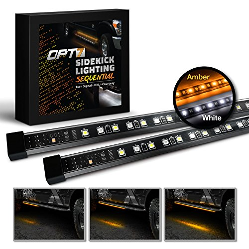 """OPT7 2pc 60"""" Side Kick Running Board LED Strips w/SEQUENTIAL Amber Turn Signal, DRL, and white Courtesy Light"""