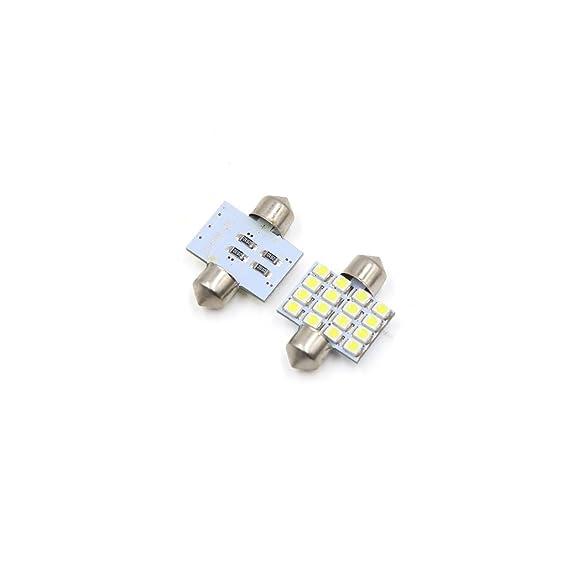 Amazon.com: eDealMax 12pcs 31mm 16 LED 1210 SMD bóveda del Adorno de la lámpara del coche Blanca Interior 3022 DE3175: Automotive