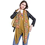 Women Fashion Scarf Shawl Wrap,RiscaWin Colorful Lightweight Exquisite Daisy Flower Embroidered Scarves(Yellow)