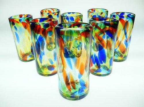 Mexican Glass Confetti Swirl Tumblers 20 oz, (8)