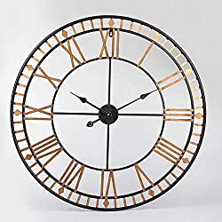 BSWOME 32 Inch Large Metal Decorative Round Wall Clock, 3D Hollow Out Wrought Iron Non-Ticking Silent Wall Clock with Roman Numeral for Office Living Room Bedroom Kitchen (Black),Gold