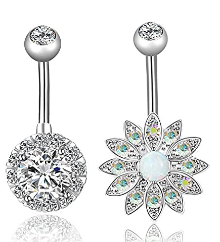 REVOLIA 2Pcs 14G Stainless Steel Belly Button Rings for Women CZ Flower Body Piercing Jewelry SS - Flower Button