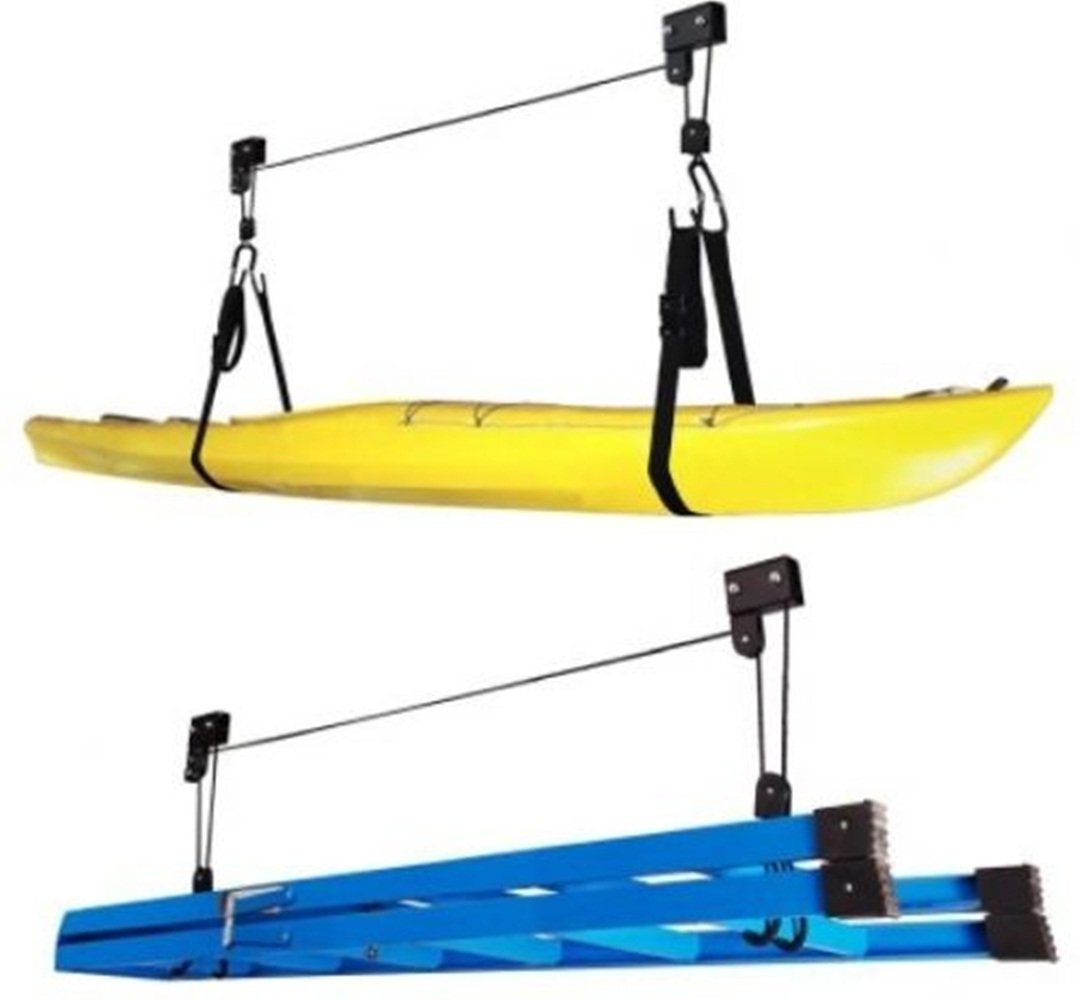 Kayak Hoist Lift Garage Storage Canoe Heavy Duty Utility Ceiling Home Ladder Box