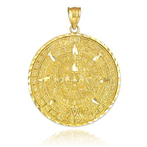 Calendrier maya Femme Charms en or jaune 10K Aztec Calendrier Maya Aztèque et pendentif
